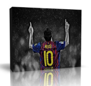 Lionel Messi Barcelona Football Club Art Canvas Print Wall Art - Framed Ready to Hang in your home interior 80cm x 50cm