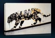 Banksy Tiger Spray (20cm x 30cm Inch) Canvas Art Framed Ready To Hang Boxed Gallery Wrapped Wall Decor