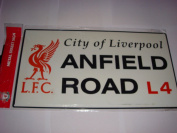 OFFICIAL LIVERPOOL LARGE METAL ANFIELD ROAD STREET SIGN 25cm x47cm