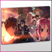A0123 Sword Art Online Aincrad Characters Framed Ready To Hang Canvas Print, Anime, Pop Street Wall Art, Picture