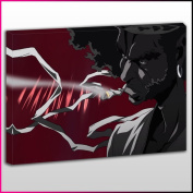 A013 Afro Samurai Smoking Close Up Framed Ready To Hang Canvas Print, Anime, Pop Street Wall Art, Picture