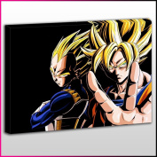 A068 DBZ Goku and Vegeta SSJ Framed Ready To Hang Canvas Print, Anime, Pop Street Wall Art, Picture