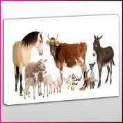 A126 Farm Animals White Background Framed Ready To Hang Canvas Print, Animal, Pop Street Wall Art, Picture
