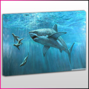 A158 Great White Shark Chasing Seals Framed Ready To Hang Canvas Print, Animal, Pop Street Wall Art, Picture