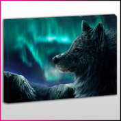 A181 Black wolf Relaxing Framed Ready To Hang Canvas Print, Animal, Pop Street Wall Art, Picture