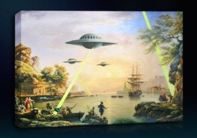 Banksy UFO (20cm x 30cm Inch) 2 Canvas Art Framed Ready To Hang Boxed Gallery Wrapped Wall Decor