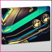 Cars0436 American Muscle Car Close Up Framed Ready To Hang Canvas Print, Cars, Pop Street Wall Art, Picture