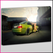 Cars0440 Green BMW M3 Framed Ready To Hang Canvas Print, Cars, Pop Street Wall Art, Picture