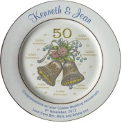 Personalised Golden Wedding Anniversary plate with 2 gold bands - Bells + 50 design