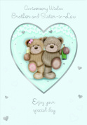Gold Brother & Sister-in-Law Anniversary Card Bears 19cm x 13cm Code 683E