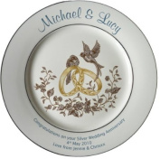 Personalised Silver Wedding Anniversary Plate with 2 platinum bands - Rings and Doves design