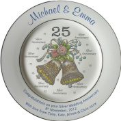 Personalised Silver Wedding Anniversary Plate with 2 platinum bands - Bells + 25 design