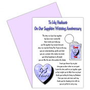 Husband 45th Wedding Anniversary Card With Removable Keyring Gift - 45 Years - Our Sapphire Anniversary