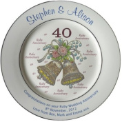 Personalised Ruby Wedding Anniversary Plate with 2 platinum bands - Bells + 40 design