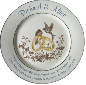 Personalised Diamond Wedding Anniversary plate with 2 platinum bands - Rings and Doves design