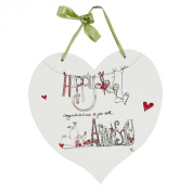 Tracey Russell Designer Glamorous 'Happy Anniversary' Wooden Hanging Heart Plaque