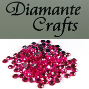 200 x 6mm Hot Pink Diamante Loose Round Flat Back Rhinestone Craft Gems created exclusively for Diamante Crafts