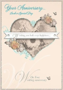 Gold Open Wedding Anniversary Card Heart & Roses 19cm x 13cm Code 508M