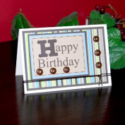 Handmade Striped Happy Birthday Card - Fair Trade