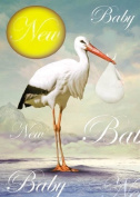 A New Baby, Stork, Greetings Card