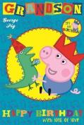 Peppa Pig George Grandson Badge Birthday Card
