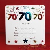 Pack of 10 - 70th Birthday Party Invitations