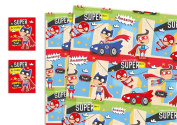 Childrens Luxury Gift Wrap x 2 Sheets & 2 Tags Super Hero Blue