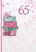 Gold Age 65 Female Birthday Card Presents & Rose 19cm x 13cm Code 202P