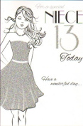 For A Special Niece 13 Today Birthday Card - 13th Birthday Black Modern Dress