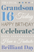 Grandson Happy 16th Birthday Card - Blue Balloons