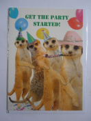 Meerkat Get the Party Started! Birthday card Meerkats in party hats doing conga!