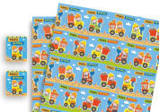 Childrens Luxury Gift Wrap x 2 Sheets & 2 Tags Digger
