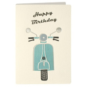 Birthday Scooter Retro Press Greeting Card
