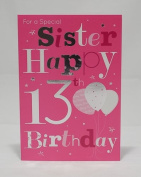 For A Special Sister Happy 13th Birthday Card - pink Balloons