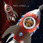 Rocket Fuel Dachshund spaceship Birthday card