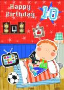Gold Age 10 Boy Birthday Card Boy Playing Video Games 19cm x 13cm Code 173L