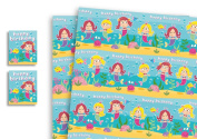 Childrens Luxury Gift Wrap x 2 Sheets & 2 Tags Mermaid
