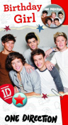 One Direction Birthday Card - Birthday Girl with Badge Card