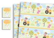 Childrens Luxury Gift Wrap x 2 Sheets & 2 Tags Farm Yard Animals