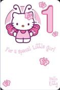 Hello Kitty 1st Birthday Girl Card
