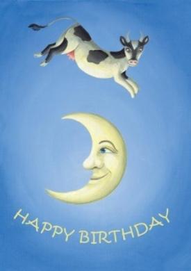 Cow & Moon Birthday - Children's/Kid's Nursery Rhyme Birthday Greeting Card