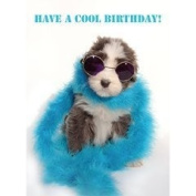 Cute fluffy black and white puppy dog in feather boa Have a Cool Birthday! card