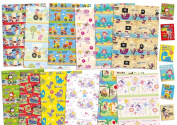 Childrens Luxury Gift Wrap Mixed Designs x 12 Sheets & 12 Tags