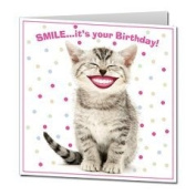Tabby Kitten Cat SMILE ... it's your Birthday! funny square card