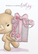 Gold Open Female Handcrafted Birthday Card Bear & Gift 19cm x 13cm Code 004N