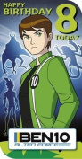 Ben 10 Age 8 Birthday Card with Badge