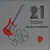 """ 21 Today, Hope Your Birthday Rocks ! "" Quality Embossed Birthday Card - R21"