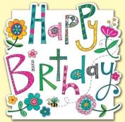 Flowers Happy Birthday Text Die Cut Birthday Card