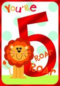 Gold Age 5 Boy Birthday Card Lion Roar Roar 19cm x 13cm Code 153P