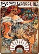 2 Alphonse Mucha Art Nouveau 'Biscuits Lefevre-Utile' Greeting Cards - Note Paper, Any Occasion 21 x 14.5 cm Cellophane Wrapped, With Envelopes